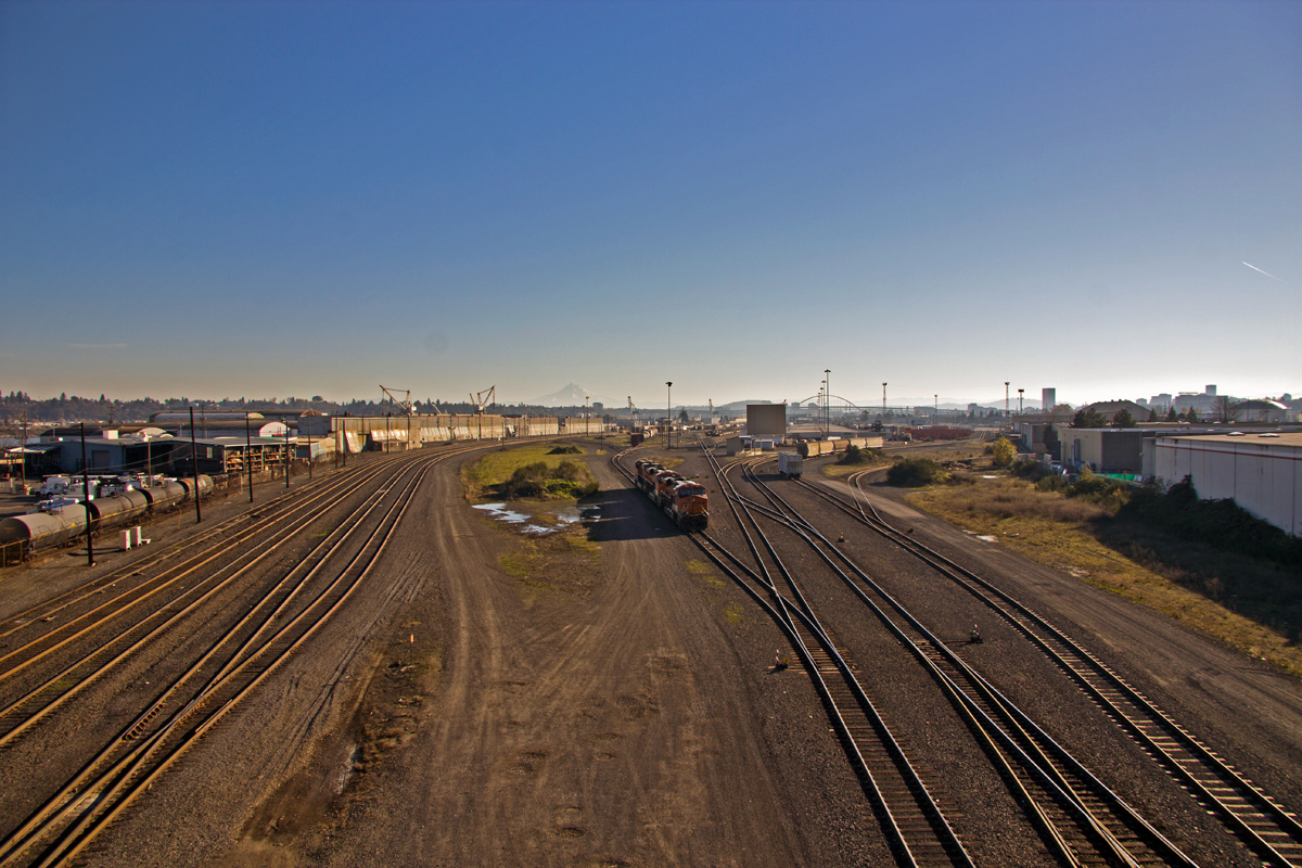 Portland, OR: Looking south and east towards the city from the BNSF Guild's Lake Yard. Mt. Hood in the background.
